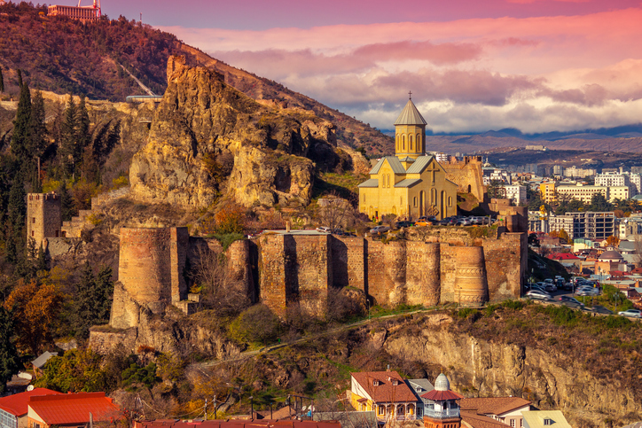 View of Tbilisi at sunset, Georgia country