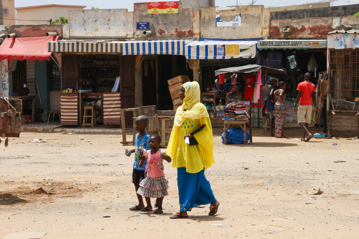 Woman with her children in Dakar, Senegal